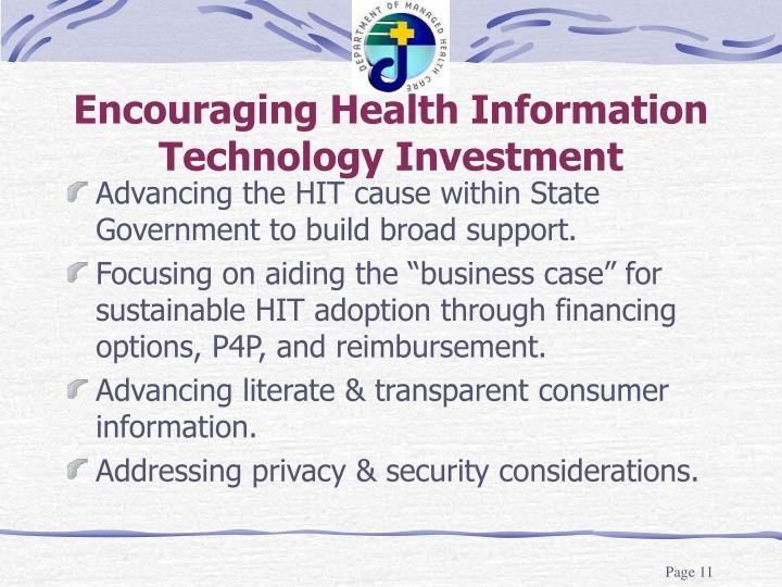 Encouraging Health Information Technology Investment