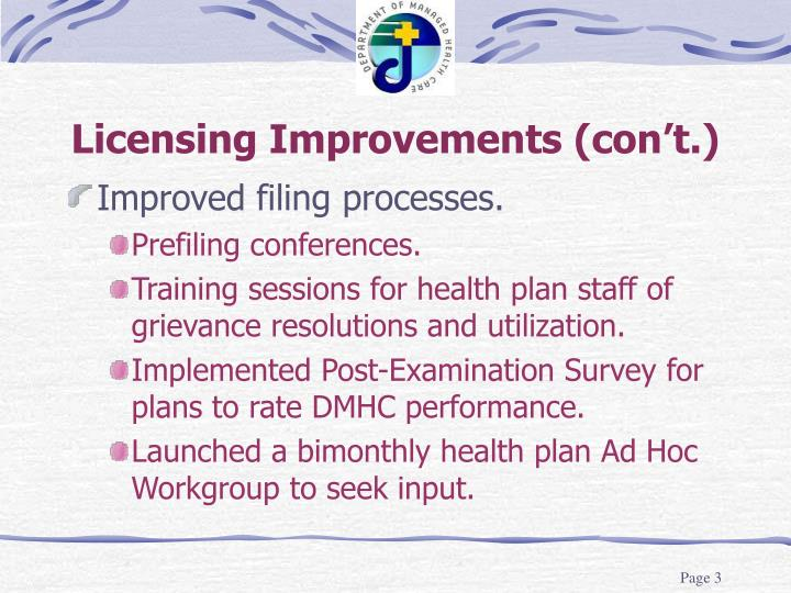 Licensing improvements con t