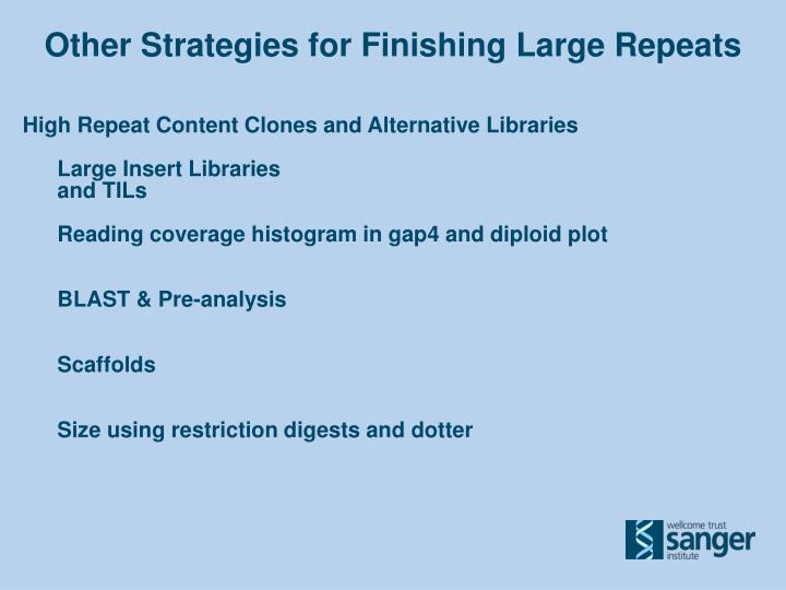 Other Strategies for Finishing Large Repeats