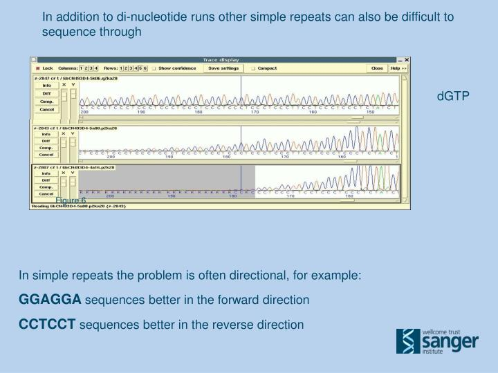 In addition to di-nucleotide runs other simple repeats can also be difficult to sequence through