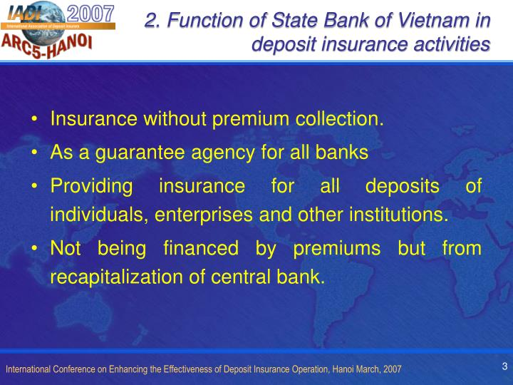 2. Function of State Bank of Vietnam in deposit insurance activities