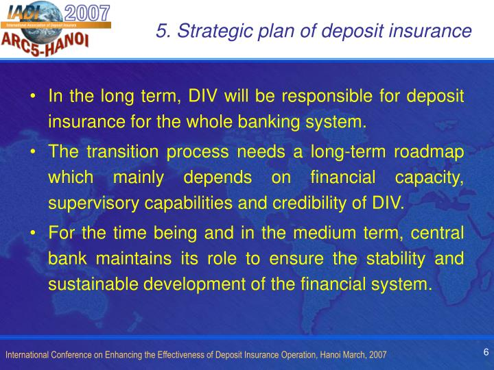 5. Strategic plan of deposit insurance