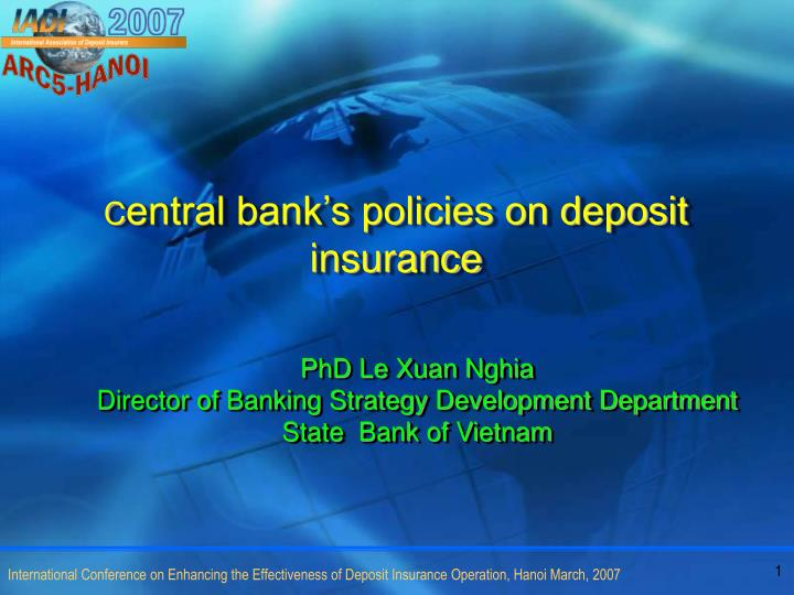 C entral bank s policies on deposit insurance