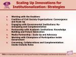 scaling up innovations for institutionalization strategies