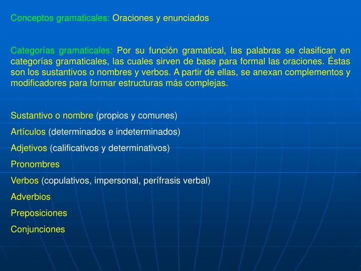 Conceptos gramaticales: