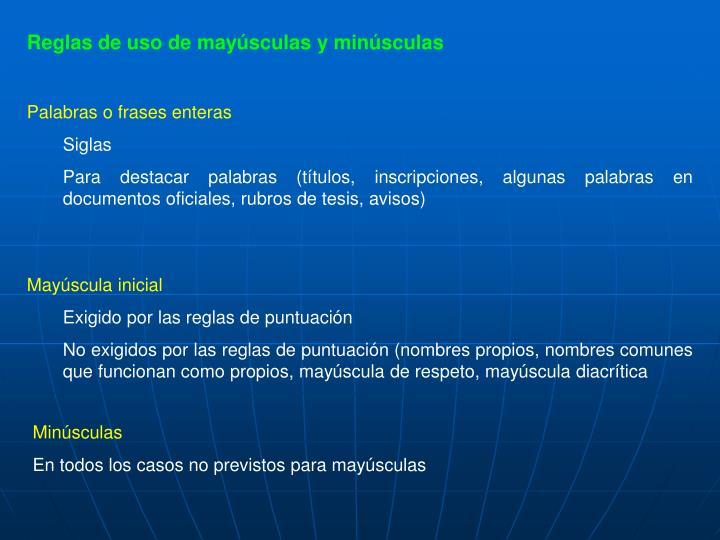 Reglas de uso de mayúsculas y minúsculas