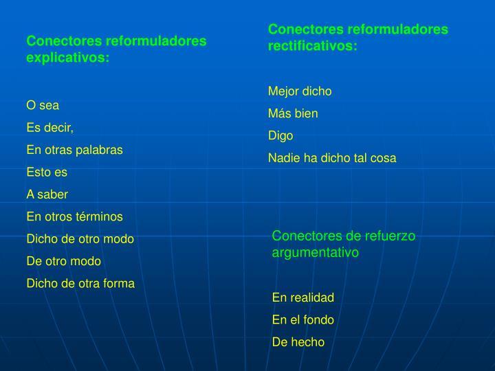 Conectores reformuladores rectificativos: