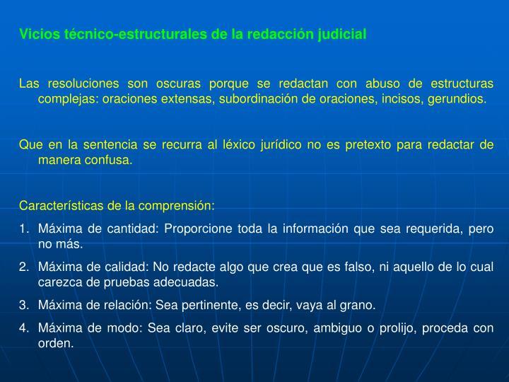 Vicios técnico-estructurales de la redacción judicial