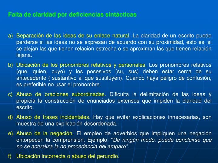Falta de claridad por deficiencias sintácticas