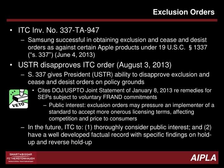 Exclusion Orders