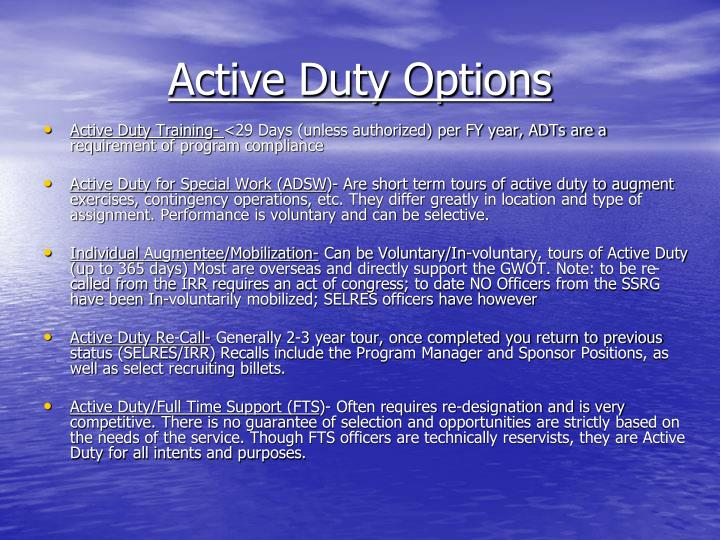 Active Duty Options