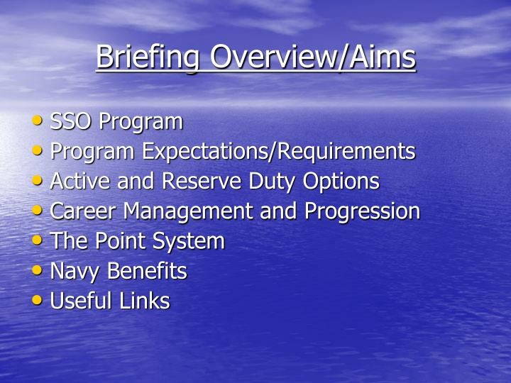 Briefing overview aims