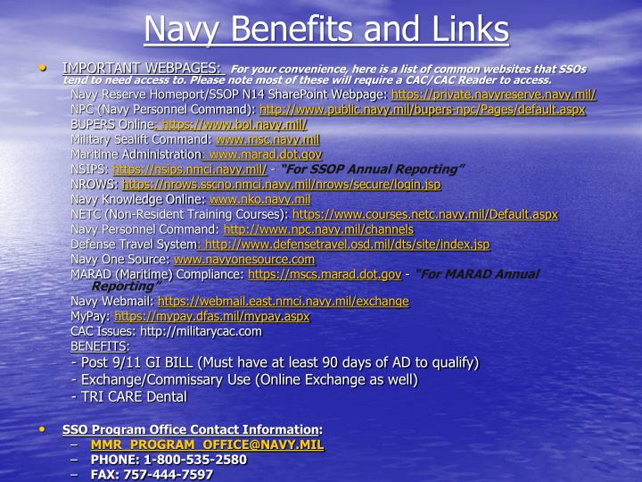 Navy Benefits and Links