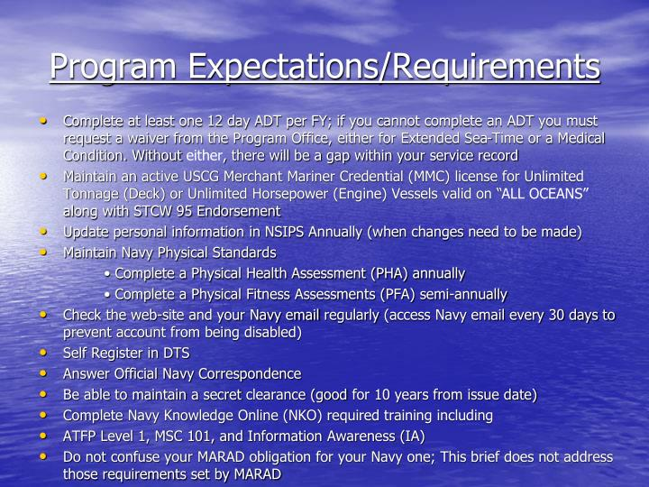 Program Expectations/Requirements