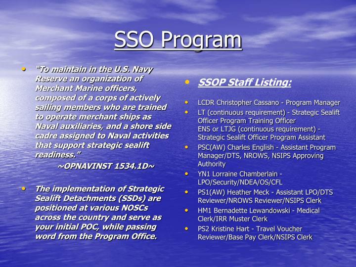 SSO Program