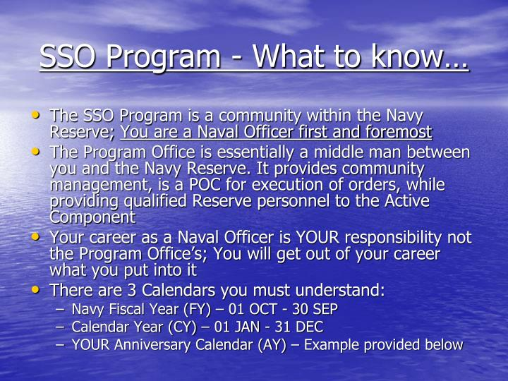 SSO Program - What to know…