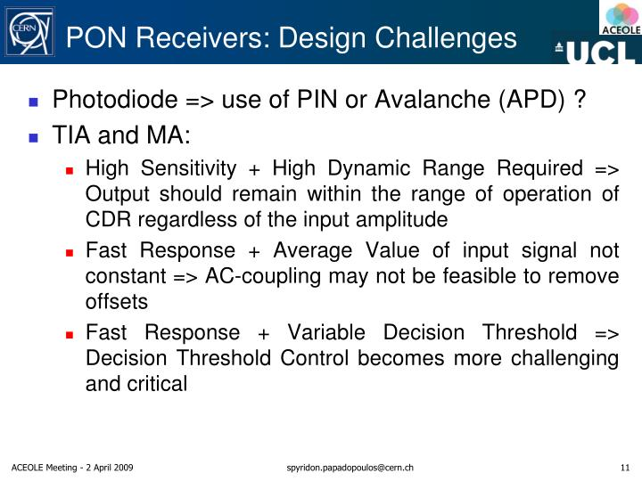 PON Receivers: Design Challenges