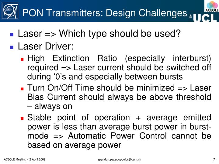 PON Transmitters: Design Challenges