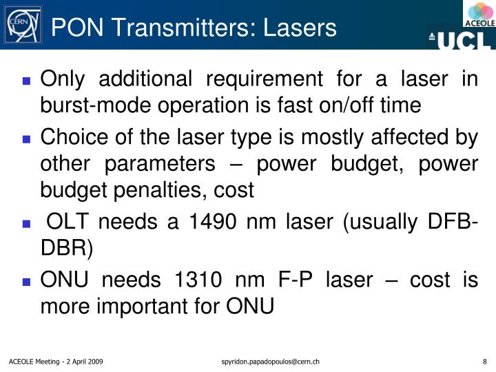 PON Transmitters: Lasers