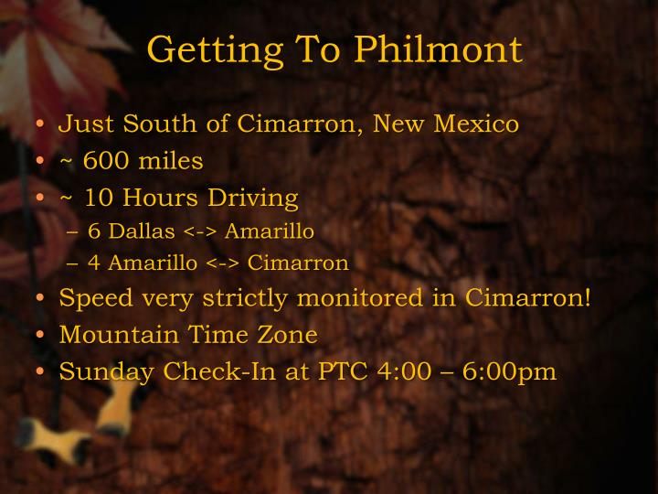 Getting to philmont