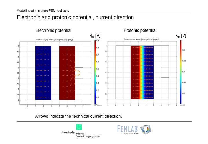 Electronic and protonic potential, current direction