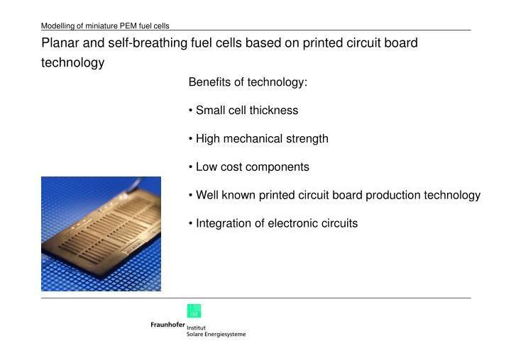 Planar and self-breathing fuel cells based on printed circuit board technology