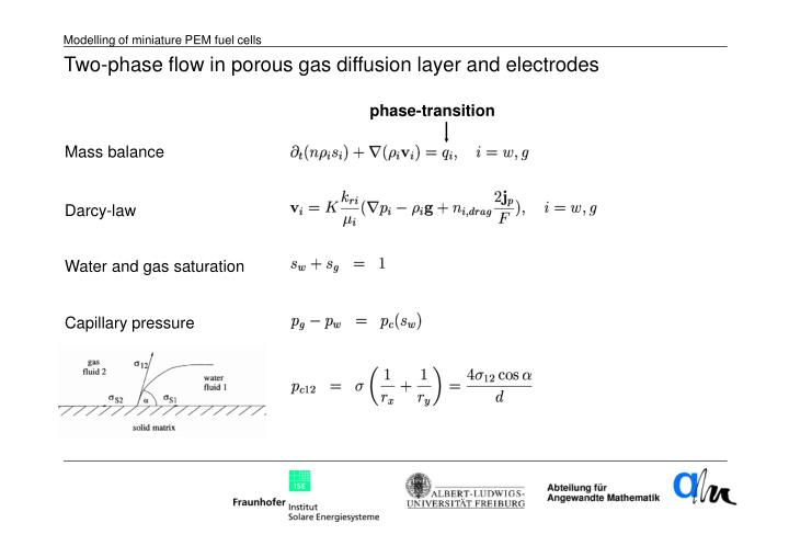 Two-phase flow in porous gas diffusion layer and electrodes