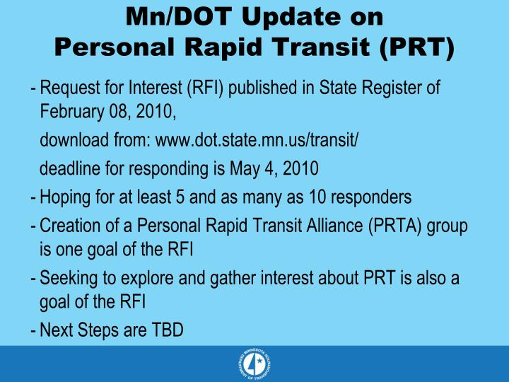 Mn/DOT Update on