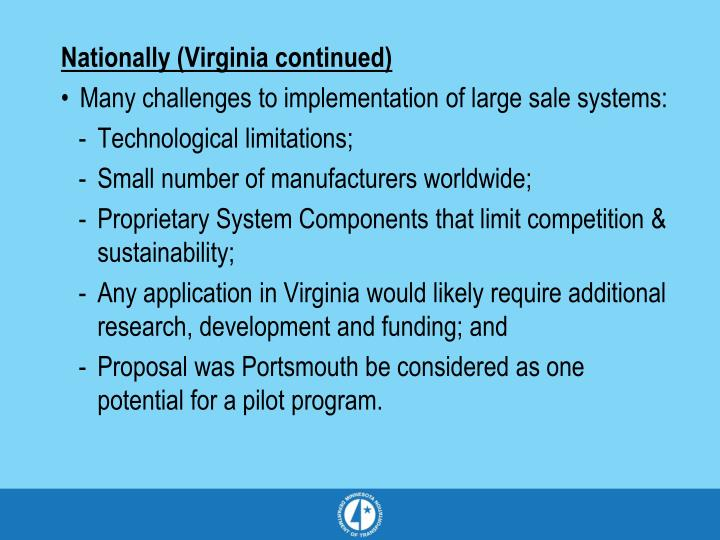 Nationally (Virginia continued)