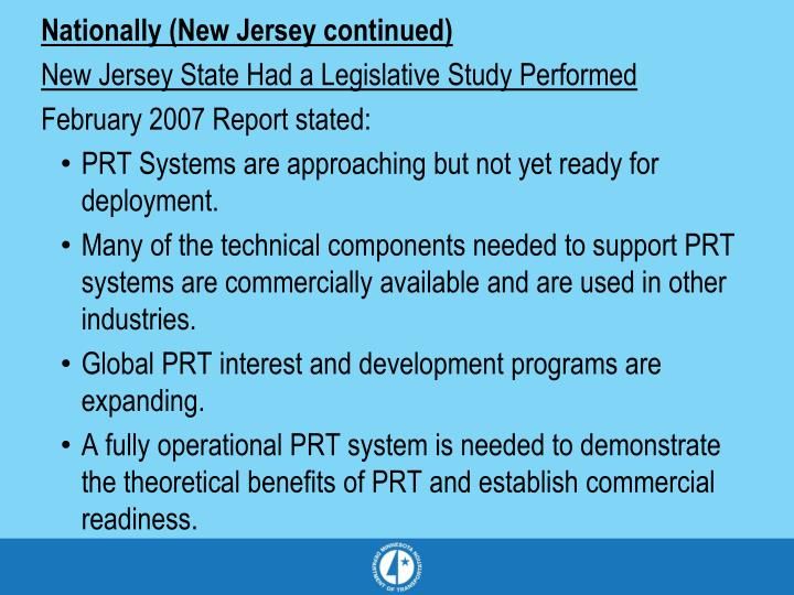 Nationally (New Jersey continued)