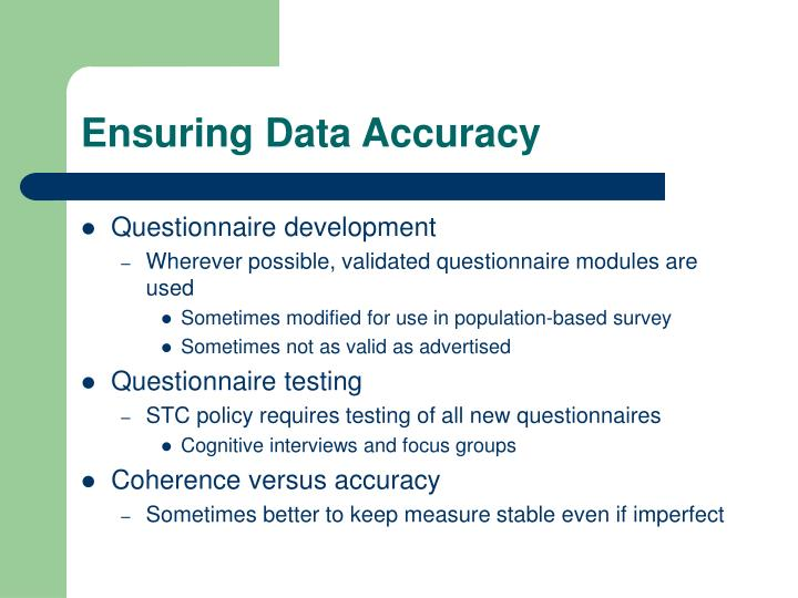 Ensuring Data Accuracy