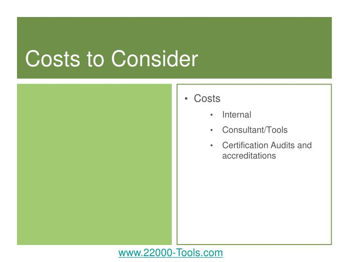 Costs to Consider