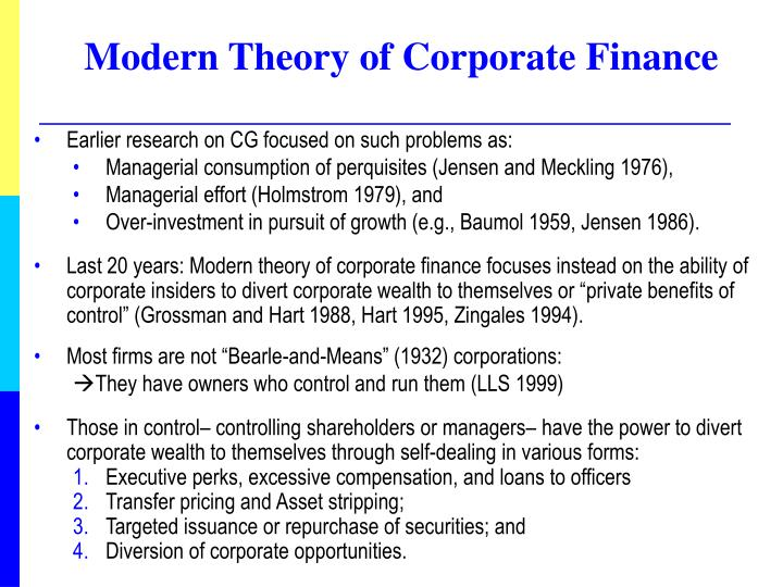 Modern theory of corporate finance