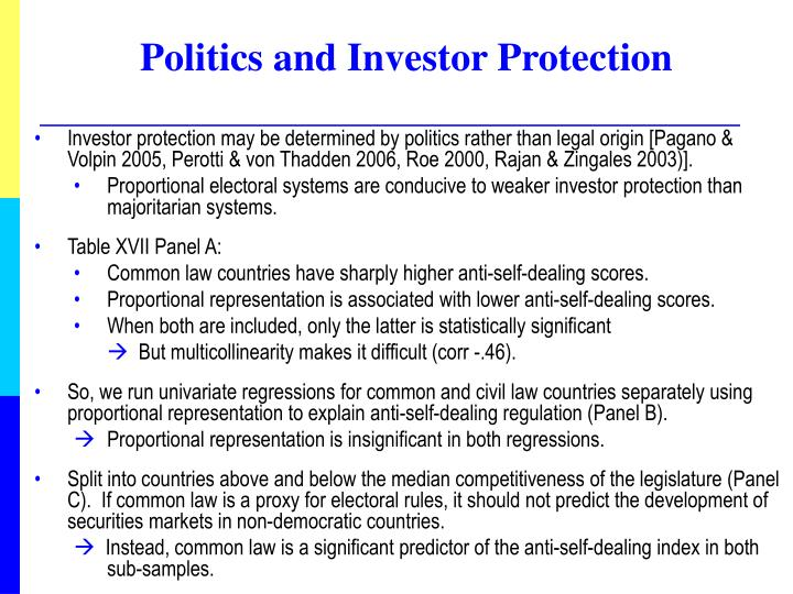 Politics and Investor Protection