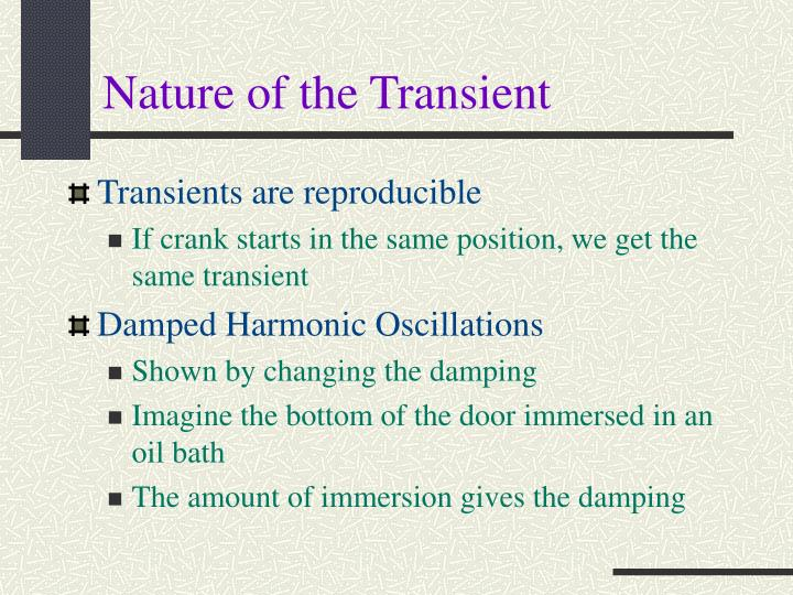 Nature of the Transient
