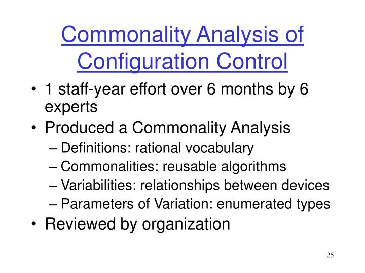 Commonality Analysis of Configuration Control
