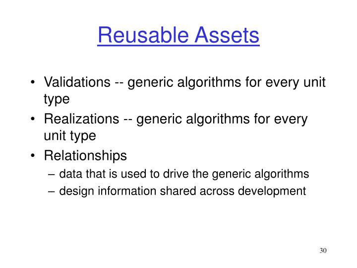 Reusable Assets