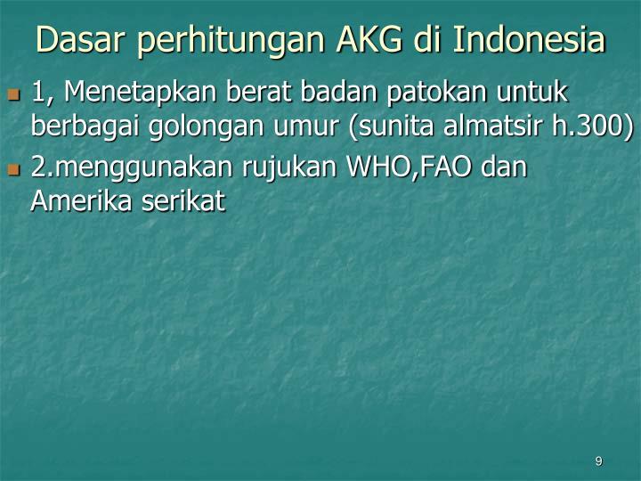 Dasar perhitungan AKG di Indonesia