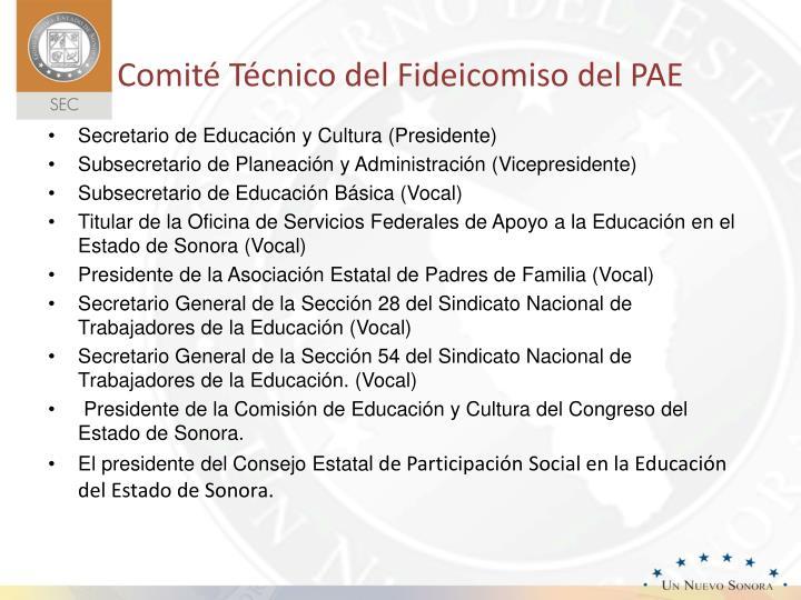 Comité Técnico del Fideicomiso del PAE