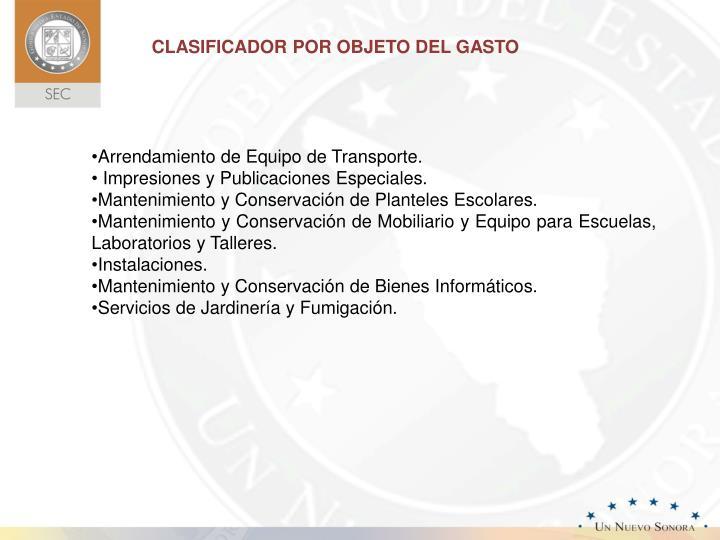 CLASIFICADOR POR OBJETO DEL GASTO