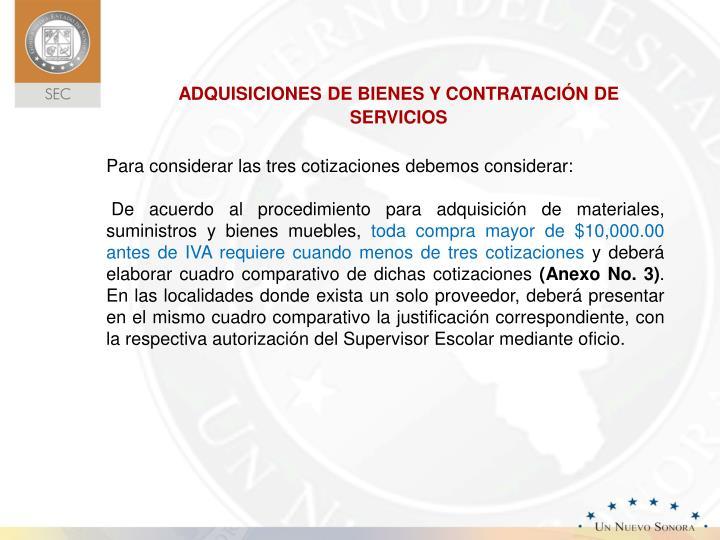 ADQUISICIONES DE BIENES Y CONTRATACIÓN DE SERVICIOS