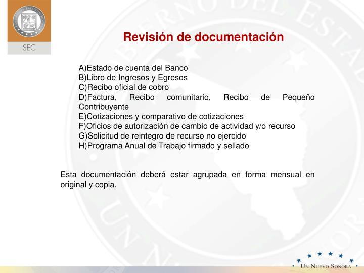 Revisión de documentación