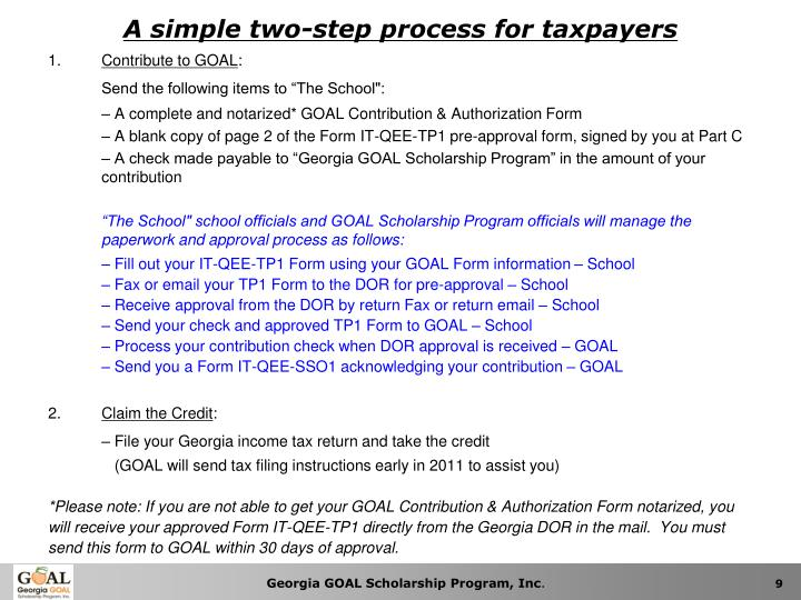 A simple two-step process for taxpayers