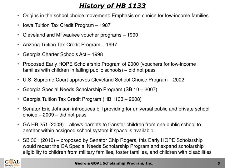 History of HB 1133