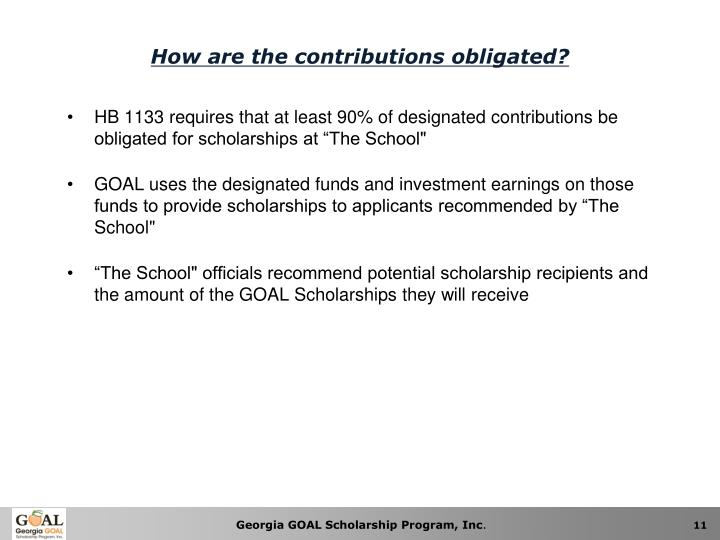 How are the contributions obligated?