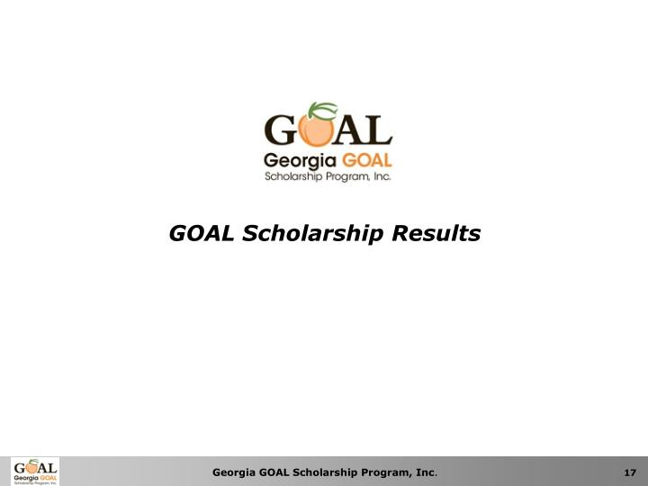 GOAL Scholarship Results