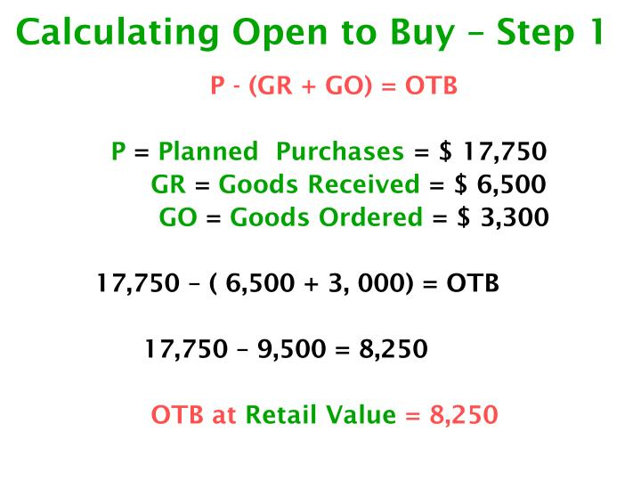 Calculating open to buy step 1