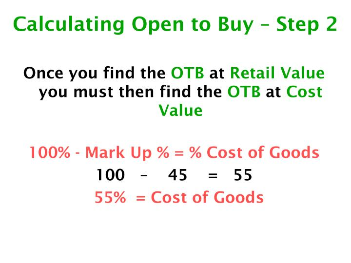 Calculating Open to Buy – Step 2