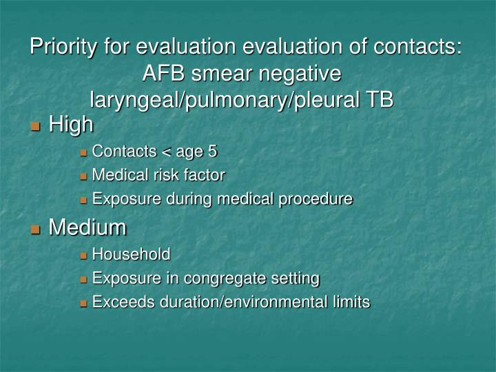 Priority for evaluation evaluation of contacts: AFB smear negative laryngeal/pulmonary/pleural TB