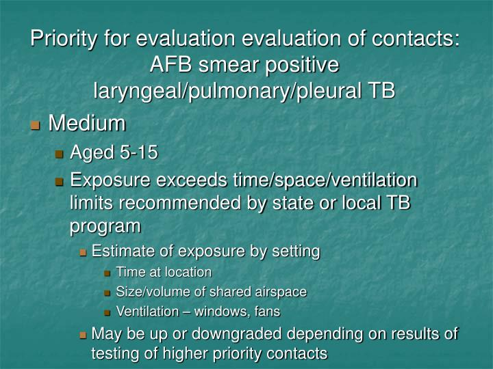 Priority for evaluation evaluation of contacts: AFB smear positive  laryngeal/pulmonary/pleural TB